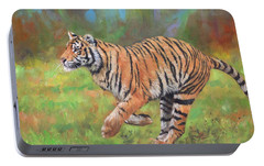 Portable Battery Charger featuring the painting Tiger Running by David Stribbling