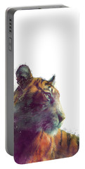 Tiger // Solace - White Background Portable Battery Charger by Amy Hamilton