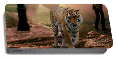 Tiger Walking Down A Snow Slushy Street Portable Battery Charger by Wernher Krutein