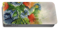 Portable Battery Charger featuring the painting Tigerlilies And Cornflowers by Lucia Grilletto