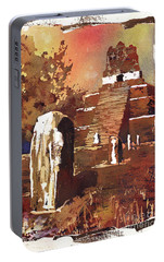Portable Battery Charger featuring the painting Tikal Mayan Ruins- Guatemala by Ryan Fox