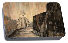 Portable Battery Charger featuring the painting Tikal Ruins- Guatemala by Ryan Fox