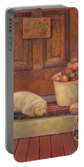 Portable Battery Charger featuring the painting Till The Kids Come Home by Nancy Lee Moran