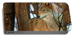 Timber Wolf Colorful Art Portable Battery Charger