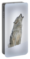 Timber Wolf Portrait Howling In Snow Portable Battery Charger