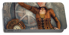 Portable Battery Charger featuring the digital art Timekeeper by Jutta Maria Pusl
