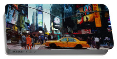 Times Square Taxi- Art By Linda Woods Portable Battery Charger