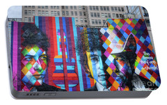 Times They Are A Changing Giant Bob Dylan Mural Minneapolis Fine Art Portable Battery Charger by Wayne Moran