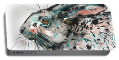 Portable Battery Charger featuring the painting Timid Hare by Zaira Dzhaubaeva