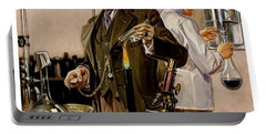 Portable Battery Charger featuring the painting Timing An Experiment Frank Leyendecker 1910 by Peter Gumaer Ogden