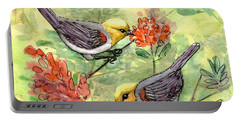 Portable Battery Charger featuring the painting Tiny Verdin In Honeysuckle by Marilyn Smith