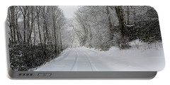 Tire Tracks In Fresh Snow Portable Battery Charger
