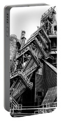 Titan Of Industry - Bethlehem Steel Mill In Black And White Portable Battery Charger by Bill Cannon