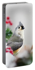 Portable Battery Charger featuring the photograph Titmouse Bird Portrait by Christina Rollo