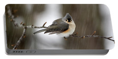 Titmouse During Snow Storm Portable Battery Charger