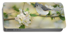 Portable Battery Charger featuring the mixed media Titmouse In Blossoms 2 by Lori Deiter