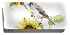 Titmouse With Sunflower Portable Battery Charger