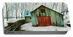 Portable Battery Charger featuring the painting To The Sugar House by Karen Zuk Rosenblatt
