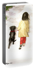 Together - Black Labrador And Woman Walking Portable Battery Charger