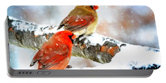 Together In The Snow Portable Battery Charger by Nava Thompson