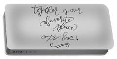 Portable Battery Charger featuring the drawing Together by Nancy Ingersoll
