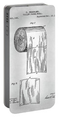 Portable Battery Charger featuring the digital art Toilet Paper Roll Patent by Taylan Apukovska