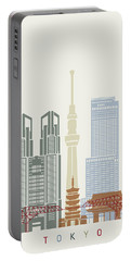 Tokyo V2 Skyline Poster Portable Battery Charger by Pablo Romero
