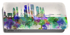 Tokyo V3 Skyline In Watercolor Background Portable Battery Charger by Pablo Romero