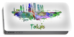 Tokyo V3 Skyline In Watercolor Portable Battery Charger by Pablo Romero