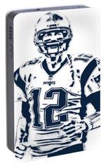 Tom Brady New England Patriots Pixel Art 6 Portable Battery Charger by Joe Hamilton