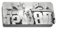 Portable Battery Charger featuring the drawing Tom Brady Rob Gronkowski Sketch by Dan Sproul