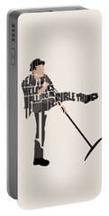 Portable Battery Charger featuring the digital art Tom Waits Typography Art by Inspirowl Design