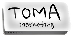 Portable Battery Charger featuring the digital art Toma Marketing Logo by Mario MJ Perron
