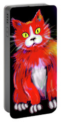 Portable Battery Charger featuring the painting Tomato Dizzycat by DC Langer