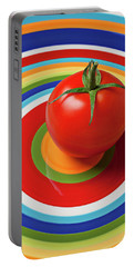 Tomato On Plate With Circles Portable Battery Charger