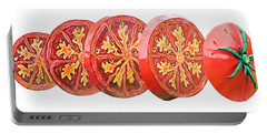 Tomato On White Background Portable Battery Charger by Kristin Elmquist