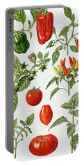 Tomatoes And Related Vegetables Portable Battery Charger by Elizabeth Rice