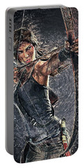 Portable Battery Charger featuring the digital art Tomb Raider by Taylan Apukovska