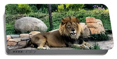 Tomo, The King Of Beasts Portable Battery Charger by Laurel Talabere