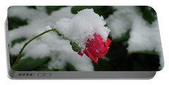 Too Soon Winter - Red Rose  Portable Battery Charger by Shirley Heyn