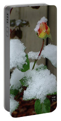 Too Soon Winter - Yellow Rose Portable Battery Charger by Shirley Heyn