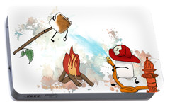 Portable Battery Charger featuring the digital art Too Toasted Illustrated by Heather Applegate