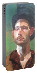 Portable Battery Charger featuring the painting Topper by JaeMe Bereal