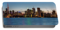 Portable Battery Charger featuring the photograph Toronto Skyline At Dusk Panoramic by Adam Romanowicz