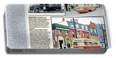 Portable Battery Charger featuring the painting Toronto Sun Article Streetcars Brush With Fame by Kenneth M Kirsch