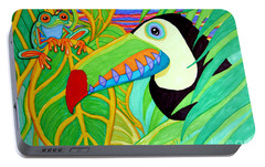Toucan And Red Eyed Tree Frog Portable Battery Charger by Nick Gustafson
