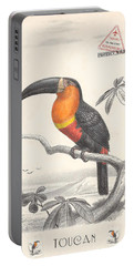 Portable Battery Charger featuring the digital art Toucan Bird Responsible Travel Art by Nola Lee Kelsey