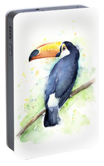 Toucan Watercolor Portable Battery Charger by Olga Shvartsur