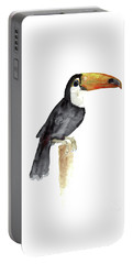 Toucan Watercolor Painting Tropical Bird Kids Playroom Art Prin Portable Battery Charger