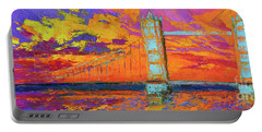 Portable Battery Charger featuring the painting Tower Bridge Colorful Painting, Under Vibrant Sunset by Patricia Awapara